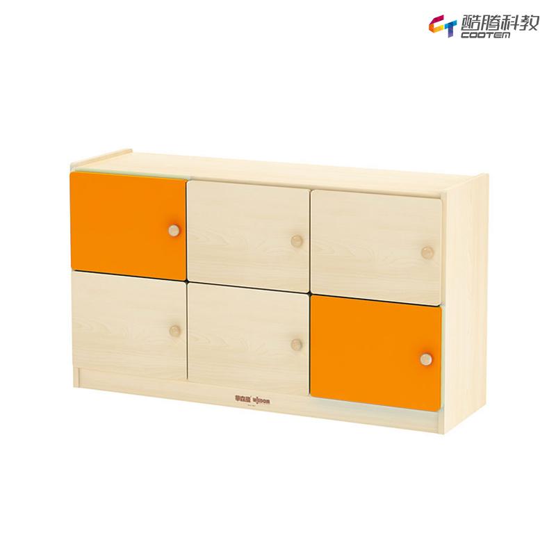 横式6格书包柜 桔黄